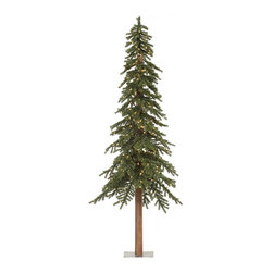 "Vickerman - Natural Alpine Tree 1221T 400CL (8' x 50"") - 8' Tree W/ 1221 Tips, 100%Pvc, 0.07+0.11+0.11Mm Thickness, Ul 400 Dura-Lit Clear Lt, In Bmd Base, 50"" Girth"