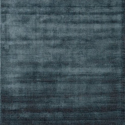 Loloi - Loloi Luxe Blue Steel Area Rug - Get the look of sleek and sophisticated at once with our Luxe Collection from India. Living up to its name Luxe is hand loomed of viscose that shimmers effortlessly from every angle. Even better the surface features alternating stripes of cut pile and looped yarn adding textural interest. Available in rich jeweltone colors ruby charcoal grey mist pewter aqua blue steel and aubergine.