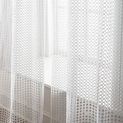 """Horchow - Each 108""""L Allison Sheer - Laser-cut circles give these rod-pocket sheers tremendous appeal. Each sheer is approximately 50""""W. Select White or Beige when ordering. Made of polyester. Dry clean. Imported."""
