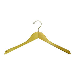 Proman - Genesis Flat Coat Hanger, Natural Lacquer - Genesis flat coat hanger, natural lacquer, chrome hardware, 50 pcs/case. Flat coat hanger. Chrome hardware.