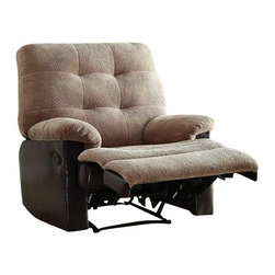 "Acme - Layce 2 Tone Camel Morgan Fabric & Leather-Like Standard Motion Recliner Chair - Layce 2 tone camel morgan fabric and leather like standard motion recliner chair with overstuffed seats and arms. This recliner features a and a 2 tone camel morgan fabric and leather like upholstery with a release latch on the side of the recliner, this is a manual recliner you need to push the footrest back to lock it in. Recliner measures 38"" x 37"" x 41""H. Some assembly may be required."