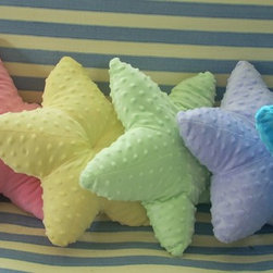 Nautical pillows and decor - Minky dot starfish pillows measure 15 inches across from arm to arm. The minky dot fabric lends itself well to the starfish pattern. Completely childsafe and washable. Perfect accent pillow for a nautical baby nursery or your nautical decor!