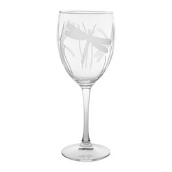 Rolf Glass - Dragonfly Goblet 10.5oz, Set of 4 - Still or sparkling, it doesn't matter. These are the water goblets you'll turn to for entertaining on those nights on the deck or patio. Engraved dragonflies dancing amidst blades of grass complete the summery look.