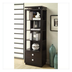 """Coaster - Coaster Wall Units 4 Shelf Media Tower in Cappuccino Finish - Coaster - Bookcases - 800354 - About This Product: A rich cappuccino finish along with square """"push to open"""" hardware and a decorative floating top design give this media tower casual contemporary appeal for your home. Designed to use to create more storage and display space along the matching TV console this media tower makes a great bookcase as well. Storage includes two drawers and four shelves."""