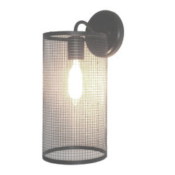 WALL LIGHT SCONCE WITH EDISON BULB - This sleek looking light fixture shows a Vintage Inspired Edison bulb surround by a black metal cage. The metal screen helps to diffuse the light nicely, yet gives ample illumination for the tasks at hand. And if you need other applications, we have them available in chandeliers, pendants and more.