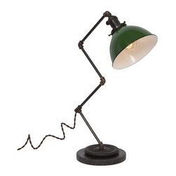 """Pre-owned Large Zig Brass Plumbing Table Lamp - Green Dome - Shed light on any project with this vintage industrial inspired desk lamp. The lamps feature repurposed industrial plumbing pipe, brass hardware and porcelain enamel metal shades.     •  24"""" High x 12 1/2"""" Deep x 7"""" Diameter Base  •  1/8 IP Brass pipe  •  1/8 IP Repurposed industrial brass plumbing pipe fittings  •  Solid brass knob switch standard medium (E26) base socket  •  Solid brass 2 1/4"""" shade fitter  •  7"""" Diameter porcelain enamel metal shade w/ white interior  •  8ft vintage style brown cloth covered twisted cord  •  Antique style brown Bakelite plug  •  110-250 Volts - 250 Watt max bulb (not included)  •  All UL Listed components  •  Vintage 2 ½ pound barbell  •  Reclaimed black honed marble base  •  Hand finished ebonized brass patina  •  Hand finished ebonized rust patina (barbell)  •  Handcrafted in Santa Barbara, CA by artisan Hilary Nagler"""