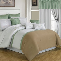 Lavish Home 25 Piece Room-In-A-Bag Elizabeth Bedroom Set - Freshen the look of your bedroom in a snap with the Lavish Home 25 Piece Room-In-A-Bag Elizabeth Bedroom Set. This collection includes everything you need from window treatments to bedding. All pieces are made of luxuriously soft polyester and coordinate perfectly. The comforter is oversized overfilled and reversible. You'll love the neutral white tan and green color palette. Machine-wash in cold water and tumble-dry on low. Set Includes: 1 Comforter 1 Bedskirt: 15D in. 2 Pillow shams: 20 x 36 in. 3 Euro pillow shams: 26 x 26 in. 4 Decorative pillows 1 Flat sheet 1 Fitted sheet 2 Pillowcases 4 Window panels: 56 x 84 in. 2 Window valances: 84W x 15L in. 4 Curtain tie-backs Comforter Dimensions: Queen: 92L x 92W in. King: 106L x 92W in. About Trademark Global Inc.Located in Lorain Ohio Trademark Global offers a vast selection of items for your home and lifestyle. Whether you need automotive products collectibles electronics general merchandise home and garden items home decor housewares outdoor supplies sporting goods tools or toys Trademark Global has it at a price you can afford. Decor items and so much more are the hallmark of this company.