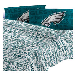 The Northwest Company - Philadelphia Eagles Full Sheet Set Anthem Bed Sheets - Features: