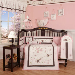 """Geenny - Boutique Blossom Quilt 13 Piece Crib Bedding Set - This listing is for a 13 piece beautiful Geenny brand new crib set with all the bundle you will need. This set is made to fit all standard cribs and toddler beds. The whole set comes with 10 pieces plus 3 new wall art decor hangings, which comes out as a total 13 piece bundle. The set is made by Geenny Designs, well known as Nursery Series Products Designs. All bundled pieces are in a brand new zippered, handled carrying bag. Dress up and decorate your baby's room with this beautiful 13 piece crib bedding set. Features: -Set includes: Crib quilt, two valances, skirt, crib sheet, bumper, diaper stacker, toy bag, two pillows, three wall hangings. -Material: 65 / 35 Percent of Polyester / Cotton. -Crib quilt: 45"""" H x 36"""" W. -Crib bumper: 10"""" W x 158"""" D. -Fitted crib sheet: 52"""" H x 28"""" W. -Window valances: 16"""" H x 58"""" W. -Crib skirt: 28"""" H x 52"""" W. -Toy bag: 20"""" H x 14"""" W. -Decorative accent pillows: 10"""" H x 10"""" W. -Machine washable."""