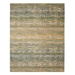 """Nourison - Nourison Rhapsody RH003 (Beige, Blue) 7'9"""" x 9'9"""" Rug - The Rhapsody collection is a modern mix of European and Persian textile traditions in lively, sophisticated patterns and colors."""