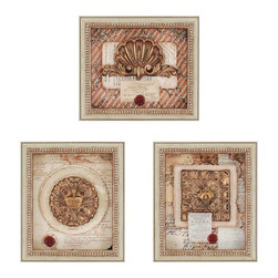Paragon Decor - French Ornaments Set of 3 Artwork - Detailed hand-painted ornaments take center stage. Stamps and papers offer additional embellishments. One horizontal and two vertical pieces.