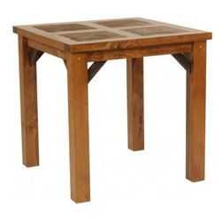 Mountain Woods Furniture - 36 Inch Reclaimed Wood Bistro Dining Table - A  reclaimed  wood  dining  table  with  extra  height  and  extra  charm.  This  distressed  wood  bistro-style  table  is  crafted  from  weathered  Wyoming  barn  wood  and  finished  to  perfection.  Capture  the  spirit  of  the  rugged  West  as  you  and  your  guests  gather  around  the  table  for  a  warm  bowl  of  chili  or  a  friendly  card  game.  The  36-inch  height  of  our  bistro  table  makes  it  versatile  and  the  salvaged  wood  gives  it  color  and  texture  you  will  love.                   36  inches  wide  x  36  inches  long  x  36  inches  high              Natural  reclaimed  barnwood              Unique  color  and  patina  -  no  two  are  alike              Eco-Friendly              Proudly  made  in  the  USA              Free  curbside  delivery  included.  Delivery  upgrades  available.              Allow  6  weeks  for  shipping