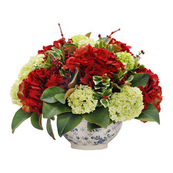 Winward Home - Holiday  Hydrangea and Viburnum - The soft green viburnum blossoms add cheerfulness to the deep reds of Winward's signature holiday hydrangeas. With holly picks here, there, and everywhere, this floral arrangement is perfect for holiday decorating.