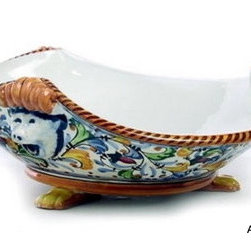 """Artistica - Hand Made in Italy - Giglio: Center Piece Bowl with Three """"Smerli"""" and Feet - Giglio Collection."""