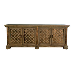 "GILANI - Pompeian Cabinet - Pompeian Cabinet. Style no: CA25181. 96""w x 25""d x 37""h. Material ..."