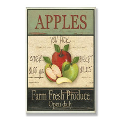Stupell Industries - Apples Farm Fresh Produce Kitchen Wall Plaque - Made in USA. Ready for Hanging. Hand Finished and Original Artwork. No Assembly Required. 15 in L x 0.5 in W x 10 in H (2 lbs.)What better way to add class to your home than with a wall plaque from the Stupell Home Decor Collection? Made in the USA and featuring original artwork,you are sure to find the perfect match for wherever you are looking to design. Each plaque comes mounted on sturdy half inch thick mdf and features hand painted edges.  It also comes with a sawtooth hanger on the back for instant use.