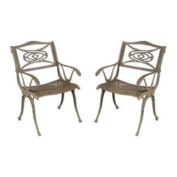Home Styles Malibu Taupe Patio Dining Chair - Set of 2 - Add modern style and beauty to your deck or patio with the Home Styles Malibu Taupe Patio Dining Chair - Set of 2. UV resistant to help prevent fading, these outdoor patio dining chairs are powder coated and feature a hand applied taupe antique finish over rust-resistant cast aluminum. Made to last, the seats are specifically designed to prevent damage caused from pooling by allowing water to pass through freely. Adjustable nylon glides prevent damage to surfaces caused by movement and also provides stability on uneven surfaces. You'll be able to use these chairs as a part of a patio dining set or as individual chairs so you'll never run out of seating when you have guests over.Additional FeaturesSeat allows water to pass through freelyChair design prevents damage caused by poolingAdjustable nylon glides protects surfacesAbout Home StylesHome Styles is a manufacturer and distributor of RTA (ready to assemble) furniture perfectly suited to today's lifestyles. Blending attractive design with modern functionality, their furniture collections span many styles from timeless traditional to cutting-edge contemporary. The great difference between Home Styles and many other RTA furniture manufacturers is that Home Styles pieces feature hardwood construction and quality hardware that stand up to years of use. When shopping for convenient, durable items for the home, look to Home Styles. You'll appreciate the value.