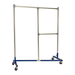 Z Racks - Heavy Duty Split Rail Garment Rack w Half Mid - Base Color: Blue. 500 lb Capacity. 5 in. heavy duty non-marring casters with revolving bumpers. Steering Handles. 5 ft. base - 14 gauge steel environmentally safe powder coated finish. Made in USA. 63 in. L x 23 in. W x 79 in. HThis new Split Rail Z-Rack is designed to maximize every inch, stay sturdy, and offer two hanging options. Both sides are 30 in. wide and have 6 ft. of hang space! The 30 in. hang rail is fully adjustable!