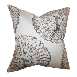 "The Pillow Collection - Ieesha Animal Print Pillow Pink Green 18"" x 18"" - Featuring an exotic peacock pattern, this accent pillow adds a contemporary vibe to your home. Decorate your sofa, chair or bed with this lighthearted throw pillow. Mix and match this indoor pillow with florals, toiles and other patterns for a modern decor style. Made with a blend of high-quality materials: 95% cotton and 5% linen."