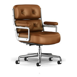 Herman Miller - Eames Executive Work Chair - The Herman Miller Eames Executive Work Chair is exceptionally generous in size and has deep cushions and padded arms that are unmistakable hallmarks of a chair steeped in rich tradition as well as elegant comfort. The Eames Executive Work Chair from Herman Miller is large in size but is the perfect fit for any sized person and adjusts to work perfectly with your body type and desk size.