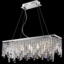 Lite Source - Lite Source EL-10117 Helanie Modern / Contemporary Pendant Light - Delicate panel crystal shades feature staggered prism curtain with modern chrome finish metal frame brings an exquisite illumination to any setting.
