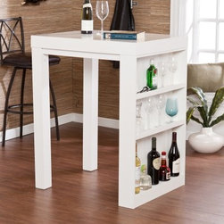 Southern Enterprises Sierra Bistro Desk - White - The Southern Enterprises Sierra Bistro Desk - White is a versatile piece that will bring exceptional convenience no matter where you place it. Add it to your kitchen dining area office or craft room and add convenient work and display space. This bistro features one solid side with three shelves for storage and display. The top two shelves include a small lip on the edge to enclose your glasses or bar ware more securely while the bottom shelf is taller and open to accommodate bottles or other décor. Proudly exhibit your collectible bar ware or favorite kitchen accents. As a handy workstation show off your craft materials with this multifaceted unit. Wood constructed of hollow core MDF and Mindi Wood. the crisp white finish shows off a clean natural look. Dimensions: 31.5W x 25.5D x 40H inches. About SEI (Southern Enterprises Inc.)This item is manufactured by Southern Enterprises or SEI. Southern Enterprises is a wholesale furniture accessory import company based in Dallas Texas. Founded in 1976 SEI offers innovative designs exceptional customer service and fast shipping from its main Dallas location. It provides quality products ranging from dinettes to home office and more. SEI is constantly evolving processes to ensure that you receive top-quality furniture with easy-to-follow instruction sheets. SEI stands behind its products and service with utmost confidence.