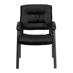 Flash Furniture - Black Leather Executive Side Chair with Titanium Frame Finish - Place this chair in your reception area for your visitors to be welcomed in comfort or in the office as a side chair for guests. The soft leather padded seat and back will make your guests feel very comfortable while business is being conducted. When in need of side chairs for the home or workplace this stylish chair is sure to be the perfect fit.