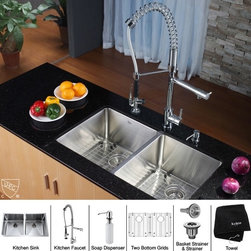Kraus - Stainless Steel Undermount Kitchen Sink Fauce - Add an elegant touch to your kitchen with unique Kraus kitchen combo. Kitchen Sink. Kraus kitchen sink boasts 16-gauge premium grade T-304 stainless steel construction. Scratch-resistant commercial-grade premium satin finish. Padded and Stone Guard undercoated insulation over a rubber pad reduces noise while sink is in use. Features unique Kraus 0.75-inch radius curved corners for easy cleaning and a stylish look. Set of stainless steel bottom grids with protective feet and bumpers, Stainless steel basket strainer, Stainless steel strainer and Dish towel are included. Mounting and installation brackets, cutout template are included. 32.75 inches L x 19 inches W x 10 inches H (overall sizes). 14.9 inches L x 17 inches W x 10 inches H (bowl sizes). 14.9 inches L x 17 inches W x 10 inches H (bowl sizes). Certified and Listed by UPC, cUPC, CSA, IAPMO, ANSI and SCC. Limited Lifetime Warranty. Faucet. Faucet is constructed from solid brass with stunning triple plated chrome finish. Solid brass body and commercial pull-down pre-rinse spray on spiral spring. Contains Sedal drip-free ceramic cartridge. Spring aerated flow powerful spray with integrated water hammer arrestor. Single-lever side mixer. Spring-tensioned retractable hose. Spout swivels 360-degrees. Hermetically sealed with adjustable temperature and flow rate limitation. Single-lever water and temperature control. Single-hole, top-mount installation. Water pressure tested for industry standard. Standard US plumbing connections. 2.2 GPM flow rate. Installation in a 1.375-inch hole. All mounting hardware and hot/cold waterlines are included. Faucet height (overall): 28.5 inches. Spout reach: 9.5 inches. Hose measures 28 inches long. 5 Years Limited Manufacturer Warranty. Soap Dispenser. Soap Dispenser is constructed from solid brass with stunning triple plated chrome finish. Easy-push, self-priming pump. Swivels 360 degrees. Refillable from above. Holds 14 ounces of liquid. Measures 2.1 inches high x 3.5 inches deep. Requires 1.25-inch hole. Limited Lifetime WarrantyInstruction Manual