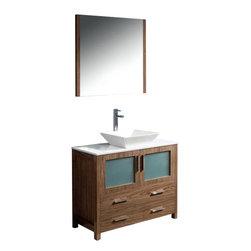 "Fresca - Fresca FVN6236WB-VSL Torino 36"" Walnut Brown Bathroom Vanity W/ Vessel Sink - Fresca FVN6236WB-VSL Torino 36"" Walnut Brown Modern Bathroom Vanity W/ Vessel Sink"