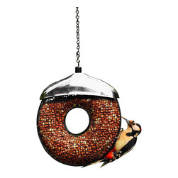 PineBush - Doughnut Peanut Feeder - Doughnut Peanut Feeder. Contemporary styling. Stainless steel rain cover.