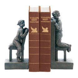 Sterling Industries - Sterling Industries Pair Peek A Boo Bookends X-6723-39 - Two children play peek-a-boo over your favorite books in the charming scene of these Sterling Industries bookends set. On one side, a little girl is hunched over her chair with a grin on her face. Opposite of her, the boy prepares to peek over the tops of the books.