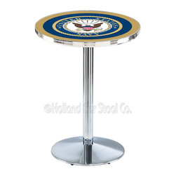 Holland Bar Stool - Holland Bar Stool L214 - Chrome U.S. Navy Pub Table - L214 - Chrome U.S. Navy Pub Table  belongs to Military Collection by Holland Bar Stool Made for the ultimate sports fan, impress your buddies with this knockout from Holland Bar Stool. This L214 U.S. Navy table with round base provides a commercial quality piece to for your Man Cave. You can't find a higher quality logo table on the market. The plating grade steel used to build the frame ensures it will withstand the abuse of the rowdiest of friends for years to come. The structure is triple chrome plated to ensure a rich, sleek, long lasting finish. If you're finishing your bar or game room, do it right with a table from Holland Bar Stool.  Pub Table (1)