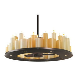 Casablanca Fan Company - Candelier Ceiling Fan by Casablanca Fan Company - The Casablanca Candelier Ceiling Fan creates showstopping drama with its romantic ring of faux candleglow, provides refreshing air circulation with a centrally-located fan, and creates a ring of crisp and bright direct lighting. The Candelier Fan features Dark Walnut fan blades, an Oil Rubbed Bronze finish, flickering bulbs inside wax candles, and Halogen downlighting.Casablanca Fan Company, headquartered in Pomona, California, offers high-quality ceiling fans in a range of timeless styles that are engineered for superior energy efficiency.The Casablanca Candelier Ceiling Fan is available with the following:Included Features:Oil-Rubbed Bronze finish.Three Dark Walnut blades.Forty eight wax candles in Ivory and Honey colors.One computerized, programmable Intelli Touch wall control with six fan speeds in forward and reverse, Fan Minder automatic fan speed adjustment during night time, Safe-Exit 30-second lights-off delay, Home-Safe lighting cycle for times when no one is home, and Light Minder automatic lights-off after two hours. Requires only two wires for installation.One ceiling canopy suitable for installation on flat ceilings and ceilings with up to a 30 degree slope.Low-voltage transformers.Innovative hanging system.48 in. diameter.30 in. blade span.Lifetime motor warranty.UL Listed for damp locations.Lighting:Candlelight: Forty-eight 3-Watt 12 Volt Flickering, non-dimmable lamps (included).Downlight: Eight 20 Watt 120 Volt MR11 Halogen lamps (included).Please Note: The Candelier is not compatible to the Low Ceiling Adaptor or the Slope Ceiling Adaptor.Shipping:This item usually ships within five business days.  This item is available only in the US.