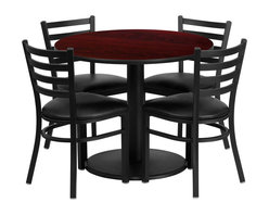 Flash Furniture - Flash Furniture Restaurant Furniture Table and Chairs X-GG-0301BRSR - 36'' Round Mahogany Laminate Table Set with 4 Ladder Back Metal Chairs - Black Vinyl Seat [RSRB1030-GG]