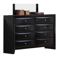 Coaster - Coaster Briana 8 Drawer Dresser in Glossy Black Finish - Coaster - Dressers - 200703 - Add this beautiful contemporary dresser to your master bedroom for a sleek look that you will love. Beveled chamber drawer fronts and brushed chrome knobs create a bold look in a black glossy finish. With eight spacious drawers this piece will meet all of your bedroom storage needs with plenty of space for clothing and other essentials. Place decorative accents on the top to add your own personal touch. With the addition of the mirror your room will look lighter and large helping you to create a casual and functional bedroom where you can truly relax.