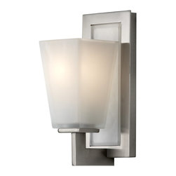 Murray Feiss - Murray Feiss Clayton Transitional Wall Sconce X-SB-10661SV - A modern design with subtle traditional influencing, this Murray Feiss wall sconce features clean finishes that will compliment a number of decors. From the Clayton Collection, the white opal etched glass shade features a subtle tapering to the shape for added interest. A crisp Brushed Steel finish completes the look. Can be mounted Up or Down.