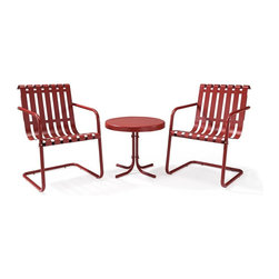 Crosley Furniture - Gracie 3 Piece Metal Outdoor Conversation Sea - Sturdy Steel Construction. Easy To Assemble. UV Resistant. Indoor/Outdoor Construction. Variety of Colors to Match any decor. Non-Toxic Powder Coated Finish. Assembly RequiredPrepare to be swept back in time in the new Gracie conversation set from Crosley. This three piece set features two of our retro-inspired Gracie chairs, designed to gently bounce away the frustrations of your day. Made of durable steel, the chair is expertly powder coated to withstand whatever the elements can throw at it. A matching metal table completes the set.
