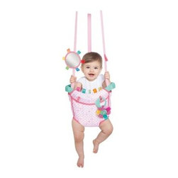 Taggies Huggable Hoot Deluxe Door Jumper - Your mini me will have a hoot bouncing in the Taggies Huggable Hoot Deluxe Door Jumper. High-energy fun abounds when your little one bounces and jumps securely in this stylish owl-themed baby jumper. The sturdy door-frame clamp adjusts to any doorway so your sweet pea can experience fun playtime wherever you go. As your baby grows, the jumper straps adjust to accommodate their height and weight. Glossy tags, discovery toys, a whimsical owl character, and a baby-proof mirror also make this door jumper a fun activity center! For easy cleanup, the seat pad can be machine-washed so your child will jump and play in clean comfort.About Taggies and Kids IITaggies is part of the Kids II family. Kids II was founded in 1969 when a grandmother came up with a great idea to keep infants from slipping in the bathtub. Since then, Kids II has been inventing ingenious solutions and brands for today's families. Do you know the secret of Taggies? Taggies knows that babies are inherently attracted to texture and tags. They crave sensory experiences from birth because babies learn through their senses. All Taggies tags are made of satin to look cute and satisfy baby's need for tactile stimulation.