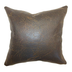"The Pillow Collection - Jazzy Plain Pillow Chocolate - This elegant throw pillow is unconventional and edgy. The eye-catching accent pillow is made from 100% leather material which gives it a rustic twist. This square pillow comes with a masculine vibe perfect for the office. The 18"" inch pillow comes with a rich chocolate hue which works well with other colors. Use this decor pillow as an accent in different decor styles like contemporary, lodge and more. Hidden zipper closure for easy cover removal.  Knife edge finish on all four sides.  Reversible pillow with the same fabric on the back side.  Spot cleaning suggested."