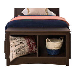 Prepac - Prepac Fremont Twin Small Cubbie Storage Bench in Espresso Finish - Prepac - Bedroom Benches - ESC3620 - This practical storage bench for the foot of a twin bed is the perfect companion to the espresso Twin Bed and Headboard and the Fremont bedroom collection. Under the bench are two storage compartments which are ideal for storing blankets shoes baskets backpacks & books.
