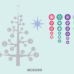 Advent Calendar Wall Decal by In an Instant Art - Wall decals are a great way to decorate in rental units without putting your security deposit in jeopardy. This sticky modern calendar allows you to decorate a tree without the mess of pine needles.