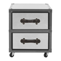 Safavieh - Gage 2 Drawer Rolling Chest/Black-Silver - It�s the silver lining. The black and silver Two-Drawer Rolling Chest with metal detailing brings just the right amount of industrial charm to the contemporary home office. Inspired by the chic metal cases used to store Hollywood audio-visual equipment, its sleek style is bound to be a classic.(Pending)