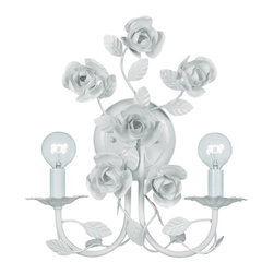 Crystorama - Crystorama Cypress Wall Sconce in Wet White - Shown in picture: White Wrought Iron Wall Sconce; This hand painted Wall Sconce from the Cypress Collection takes beautiful wrought iron floral and finishes them in Wet White making the fixture emit both modern and retro styling