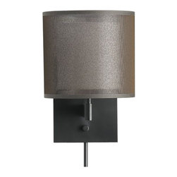 Eclipse Antiqued Bronze Wall Sconce - Contemporary sconce with double shade casts a warm glow of ambient lighting while eclipsing the bulb within. White fabric interior shade is surrounded by sheer bronze mesh. Backplate and cord covers are antiqued bronze.