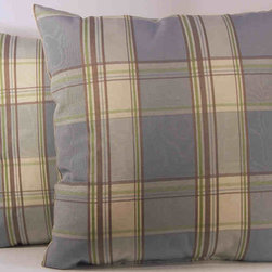 RLF HOME - Glenboro Mineral/Chocolate Plaid Pillows (Set of 2) - This midscale plaid in popular colors will make a statement as you decorate your room.