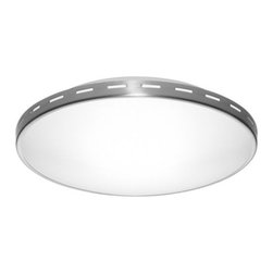 Estiluz - t-1260/t-1262 Flushmount by Estiluz - The Estiluz t-1260/t-1262/t-1266 Flushmount is cool, crisp and clean, in both its design and the light it sheds. The bowl of White Satin glass diffuses a bright white glow throughout a space, as do the perforations along the metal ring that holds the shade in place. Available in three sizes.Estiluz, established in 1969, is a contemporary lighting company based in a small Spanish town just outside of Barcelona. Using state-of-the-art production techniques, Estiluz has always focused most on the quality, functionality and accessibility of their decorative architectural lighting designs.The Estiluz t-1260/t-1262/t-1266 Flushmount is available with the following:Details:White Satin glass shadeMetal baseBrushed Nickel finishETL ListedDesigned by Leonardo MarelliOptions:Size: Large, Medium, or Small.Lighting:Large option utilizes one 300 Watt 120 Volt Type R7s Halogen lamp (not included).Medium option utilizes one 150 Watt 120 Volt Type R7s Halogen lamp (not included).Small option utilizes one 100 Watt 120 Volt Type R7s Halogen lamp (not included).Shipping:This item usually ships within 3 to 5 business days.