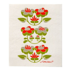 Klippan Textiles - Swedish Dishcloth LaFleur Green Red - THE SWEDISH ECO-FRIENDLY DISHCLOTH: The dry sponge cloth was invented in 1949 by the Swedish engineer Curt Lindquist, who discovered that a mixture of natural cellulose (wood pulp) and cotton can absorb an incredible 15 times its own weight in water.