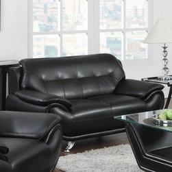 """Acme Furniture - Zahar Loveseat in Black Bonded Leather - Zahar Loveseat in Black BL; Finish: Black BL; Materials: BL, CA Foam; Metal Leg; Weight: 79 lbs; Dimensions: 61""""L x 38""""D x 34""""H"""