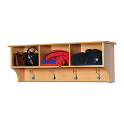 Prepac - Entryway Wall Mount Coat Rack w 3 Cubbies in - Add extra storage possibilities to your bedroom when you add this wall shelf meant to complement its matching Maple colored storage bed.  Its four hooks conveniently hold jackets, bags, and sweaters, while its three cubbies and top shelf space provide storage.  Save space with this attractive wall mounted coat rack.  Take off your jacket, put your work bag in a cubby, and shed the worries of your day when you come home and store everything in this attractive maple colored wall coat rack.  Its cheerful Maple color matches with a wide array of furnishings, while three broad cubbies and four double hooks offer plenty of room for coats, sweaters, and bags. * Includes easy to install two-piece hanging rail system. Warranty: Five years. Made from CARB-compliant, laminated composite woods. Made in North America. Assembly required. Internal: 14.25 in. W x 10 in. D x 8.75 in. H. Overall: 48 in. W x 11.5 in. D x 16.5 in. HKeep your gloves, hats, coats and jackets together where you need them with the Entryway Cubbie Shelf. Perfect for any front hallway, mudroom or home office, its three compartments have room for everything from mittens to schoolbooks. Four large hooks provide sturdy storage for your outerwear, scarves and tote bags. Install it easily with our innovative hanging rail system and get the versatile entryway piece you've been missing.
