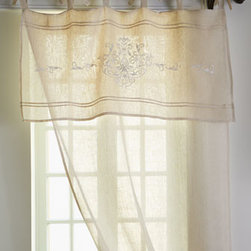 "Pom Pom at Home - Pom Pom at Home Each ""Classica"" Curtain - Tie-top curtains of airy linen voile have an attached valance embellished with white embroidery and delicate pintucks. Each curtain is 42""W x 96""L. Imported. Machine wash. Select color when ordering. By Pom Pom at Home. For guidelines on ho..."